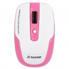 R.Horse RH5233 2,4 GHz Wireless 1000 ~ 1600 DPI Optical Mouse w / USB-Receiver - Pink + White (2 x AAA)