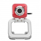 "Compact ""5.0MP"" PC USB Webcam w/ Built-in Microphone - Red + Silver (120cm)"