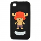 Cute One Piece Chopper Silicone Back Case for iPhone 4 / 4S - Black