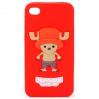 Cute Tony Tony Chopper Style Protective Silicone Back Case for iPhone 4 / 4S - Red