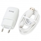 Genuine HTC ONE V EU Plug Charging Adapter + USB Data Cable - White