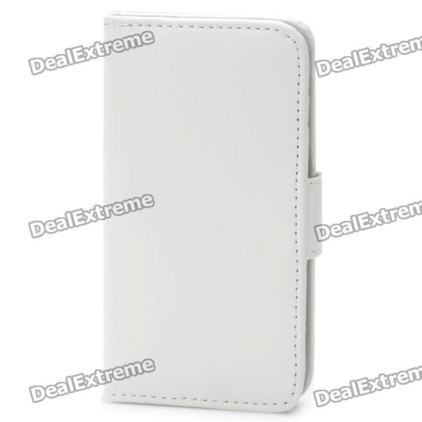 Protective Flip-open PU Case Cover for Iphone 4/4S - White protective pu leather flip open case for iphone 4 4s black