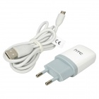 Genuine HTC ONE S EU Plug Charging Adapter + USB Data Cable - White