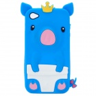 Protective 3D Yellow Crown Pig Style Silicone Case for iPhone 4/4S - Blue