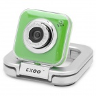 Compact 5.0MP PC USB Webcam w/ Built-in Microphone - Green + Silver (120cm)