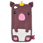 Protective 3D Yellow Crown Pig Style Silicone Case for iPhone 4/4S - Brown