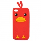 Cute Cartoon Chicken Style Protective Silicone Case for iPhone 4 / 4S - Red