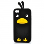 Cute Cartoon Chicken Style Protective Silicone Case for iPhone 4 / 4S - Black