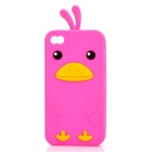 Cute Cartoon Chicken Style Protective Silicone Case for iPhone 4 / 4S - Purple