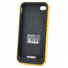 Emergency 3.7V 2000mAh External Battery Back Case for iPhone 4 - Black + Yellow