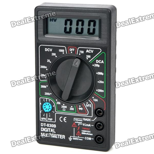 DT-830B 1.8 LCD Portable Digital Multimeter - Black (1 x 6F22) dt 830b 1 8 lcd digital multimeter 1 x 6f22 9v battery
