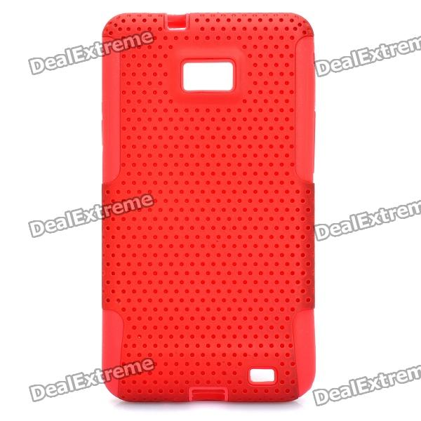 Protective Silicone + PC Back Cover Case for Samsung i9100 - Red