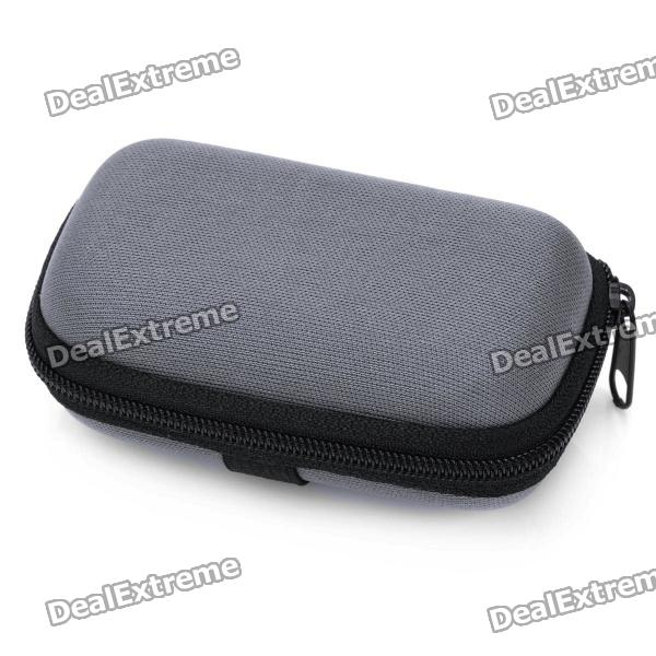 Portable Small Zippered Case for Folding Glasses - Grey + Black