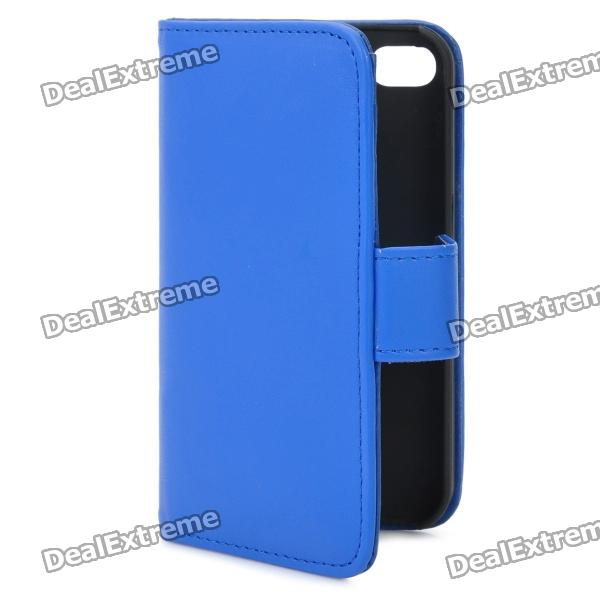 Protective Flip-open PU Case Cover with Card Slot for Iphone 4/4S - Blue protective pu leather flip open case for iphone 4 4s black