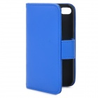 Protective Flip-open PU Case Cover with Card Slot for iPhone 4/4S - Blue