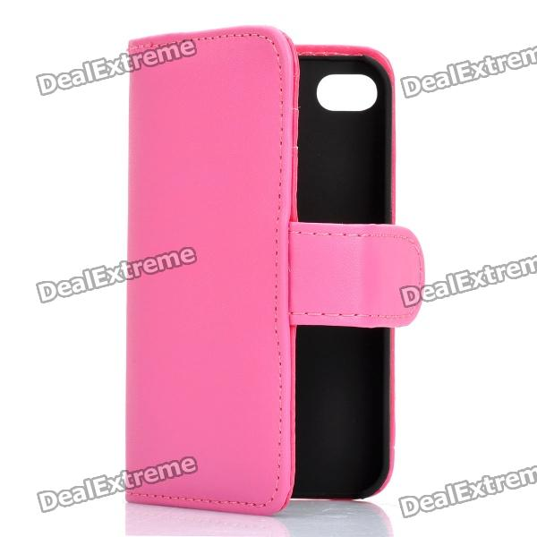 Protective Flip-open PU Case Cover with Card Slot for Iphone 4/4S - Deep Pink protective pu leather flip open case for iphone 4 4s black