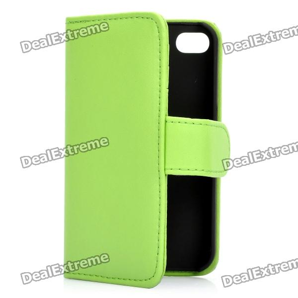 Protective Flip-open PU Case Cover with Card Slot for Iphone 4/4S - Green цены онлайн