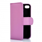 Protective Flip-open PU Case Cover with Card Slot for Iphone 4/4S - Purple