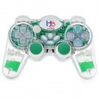 2,4 GHz Wireless Dual-Shock Gaming Control für PS2 / PS One / PS X - Grün Transparent + (3 x AAA)