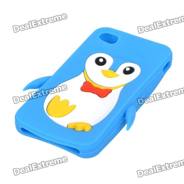 Cute Penguin Style Protective Soft Silicone Case for Iphone 4 / 4S - Blue cute 3d cartoon penguin style protective silicone soft back case for iphone 4 4s green white