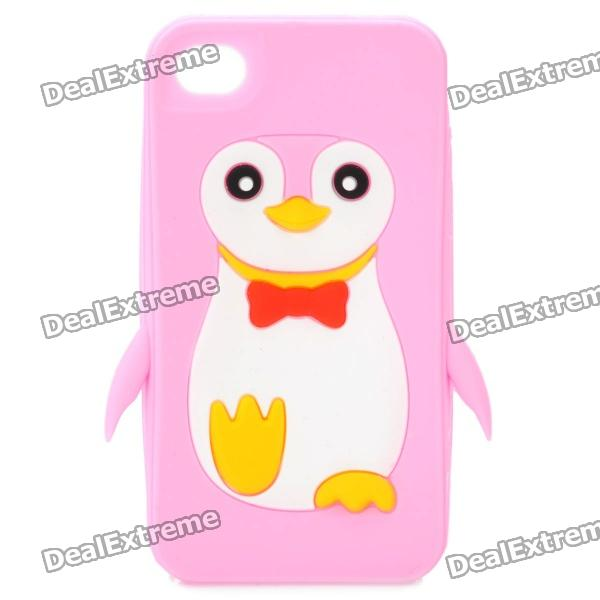 Cute Penguin Style Protective Soft Silicone Case for Iphone 4 / 4S - Pink cute 3d cartoon penguin style protective silicone soft back case for iphone 4 4s green white