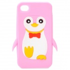 Cute Penguin Style Protective Soft Silicone Case for Iphone 4 / 4S - Pink