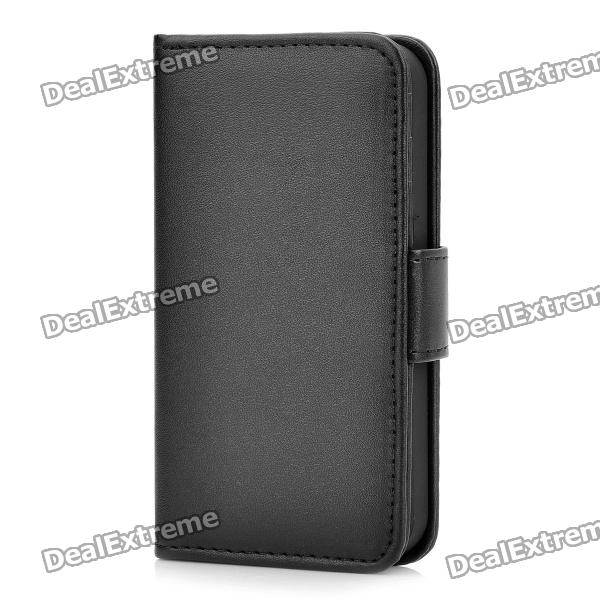 Protective Flip-Open PU Leather Case for Iphone 4S - Black protective pu leather flip open case for iphone 4 4s black