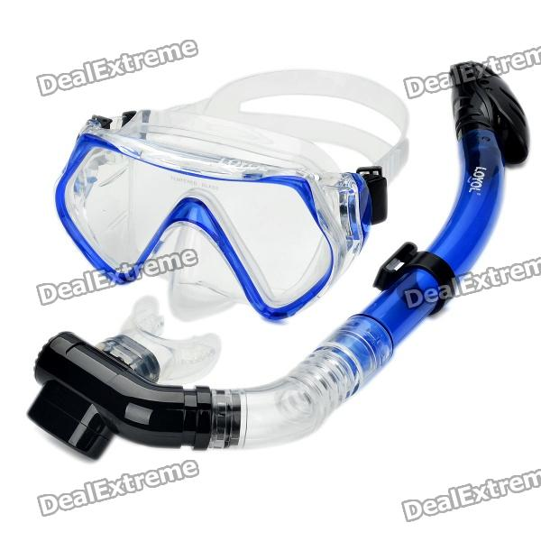 Scuba Diving Snorkeling Silicone Mask Set-Blue