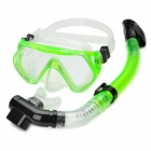 Scuba Diving Snorkeling Silicone Mask Set-Green