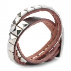Fashion Punk Style Rivet Studded Cowhide Leather Bracelet - Brown + Silver