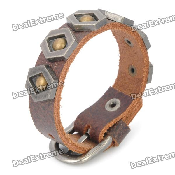 Cool Punk Style Rivet Studded Cowhide Leather Bracelet - Brown new style relogio masculino quartz watch men retro punk rock brown big wide leather bracelet cuff men watch cool clock 5