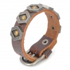 Cool Punk Style Rivet Studded Cowhide Leather Bracelet - Brown