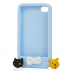 Protective Soft Silicone Case with Cute Press-Buttons for iPhone 4 / 4S - Sky Blue