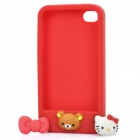 Protective Soft Silicone Case with Cute Press-Buttons for iPhone 4 / 4S