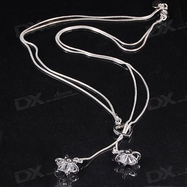 925 Silver Crystal Necklace (45cm Length)