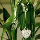 925 Silver Crystal Hearts Necklace (41cm Length)