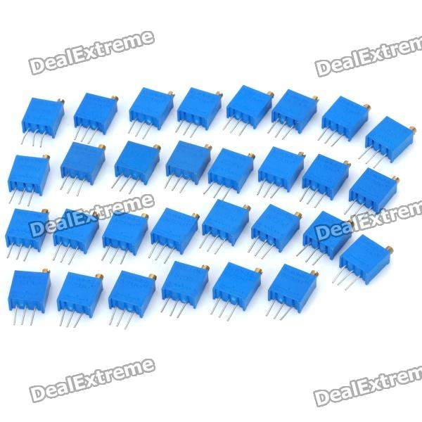 3296W Trim Pot Trimmer Potentiometer - Blue (30-Piece Pack) 3296w 500 50r