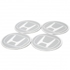 Cool Honda Logo Car Wheel Badge Sticker - Silver (4-Piece)