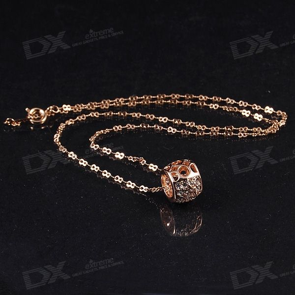 Fashionable Golden Necklace with Crystal Pendant (42cm Length)