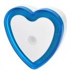 Light-Activated Heart Shaped LED Night Light Lamp - White + Blue (110~220V)