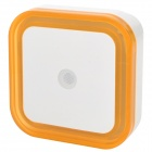 Light-Activated Square Shaped LED Night Light Lamp - White + Orange (110~220V)