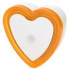 Light-Activated Heart Shaped LED Night Light Lamp - White + Orange (110~220V)