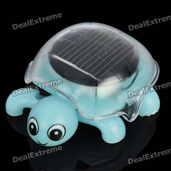 Solar powered crawling tortoise educational toy - light blue...