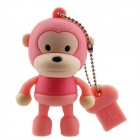 Lovely Cartoon Monkey Style USB 2.0 Flash Memory Drive - Deep Pink (4GB)