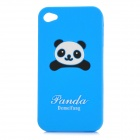 Cute Panda Pattern Protective Soft Silicone Case for Iphone 4 / 4S - Blue