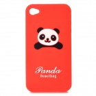 Cute Panda Pattern Protective Soft Silicone Case for Iphone 4 / 4S - Red