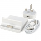 USB Charging Dock Station + AC Power Adapter + Charging Cable for New iPad - White