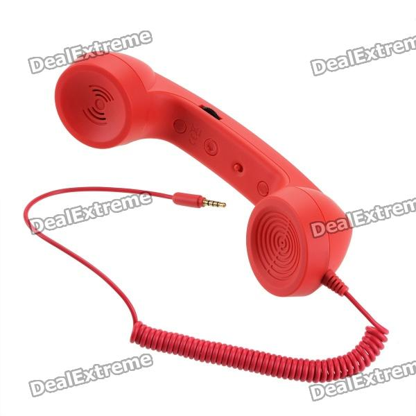 Radiation Prevention Retro Telephone Style Headset for Iphone + More - Red (3.5mm Audio Jack)