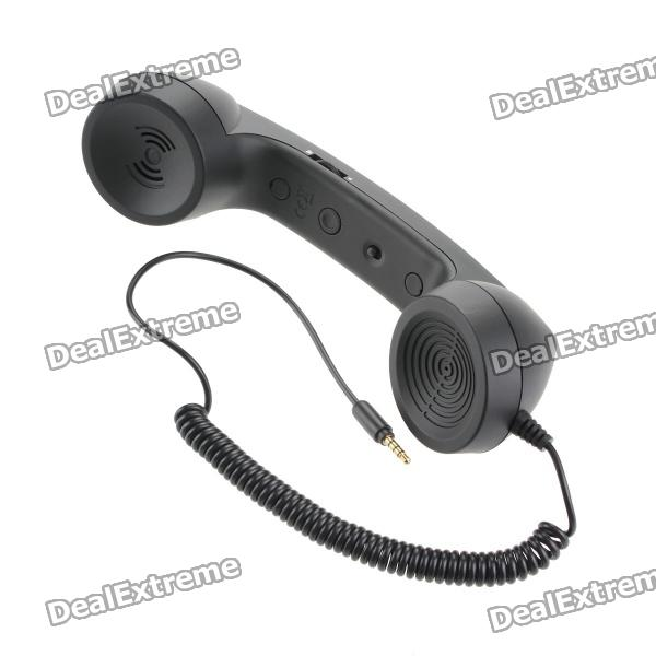 Radiation Prevention Retro Telephone Style Headset for Iphone/Cellphone - Black (3.5mm Audio Jack)
