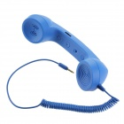 Radiation Prevention Retro Telephone Style Headset for Iphone/Cellphone - Blue (3.5mm Audio Jack)